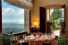 101 Best Hotel Restaurants Around the World 2014. La Loggia Restaurant at Villa San Michele (Florence, Italy) Nestled in a sixteenth-century villa, La Loggia offers sumptuous Tuscan cuisine against a backdrop of stunning Florentine views. The airy arched terrace and a duo of dining rooms, Chiostro and Cenacolo, are historic settings for chef Attilio di Fabrizio's regional cuisine.