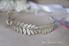 Silver Plated Leaf Headband GrecianSilver by BeadsBroochesBridal, $65.90