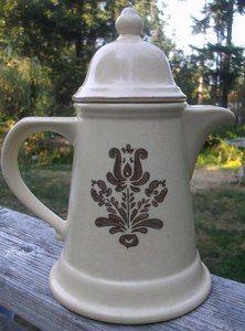 Vintage Brown/ Beige Ceramic Water / Coffee Pitcher Server With Lid ~ stamped