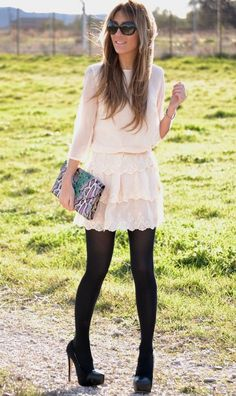 Beautiful lace dress with tights / pi?kna koronkowa sukienka skomponowana z rajstopami Look Fashion, Fashion Outfits, Womens Fashion, Fashion Trends, Dress Fashion, Fall Outfits, Casual Outfits, Cute Outfits, Skirt Outfits