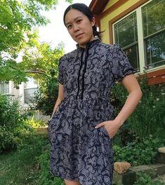 Joe in her lovely #cwhoneycombdress #honeycombdress #sewing #cocowawapatterns Pdf Sewing Patterns, Dress Patterns, Shirt Dress Pattern, Bodice, Peplum, Casual, Shirts, Dresses, Fashion