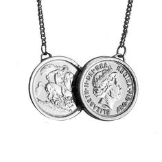 Grand two coin iconic necklace  http://www.lilywho.ie/brands/jewellery-brands/sparkling-jewellery/grand-two-coin-silver.html