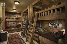 Carpet, Exposed Beams, Rustic, Country, Columns, Built-in bunk beds, Flush/Semi-Flush Mount