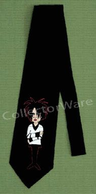 THE CURE Robert Smith cartoon CUSTOM ART UNIQUE TIE   Each necktie is individually hand-painted, a true and unique work of art indeed!  To order this, or design your own custom tie, please contact us at info@collectorware.com, or visit http://www.collectorware.com/neckties-the_cure.htm