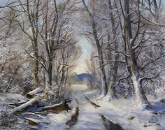 A Winter's Morning Walk by Andrew Orr Oil ~ 16 x 20