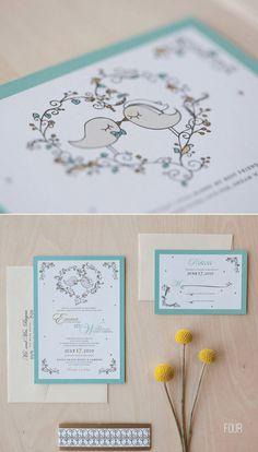 50 best bird wedding ideas: #4 bird wedding invitations (by jen simpson design)