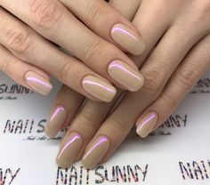 Glossy Squoval Nude Nails - New Ideas Manicure, Shellac Nails, Nude Nails, Pink Nails, Squoval Acrylic Nails, Bright Nails, Neutral Nails, Irridescent Nails, Nagel Blog
