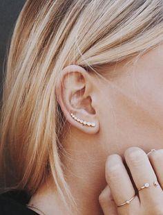 Gold pierced ear cuff ear pin ear cuff with by LuvMinimal