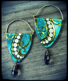 On handmade earwires; Turquoise Swing Recycled Tin Earrings. $39.00, via Etsy.