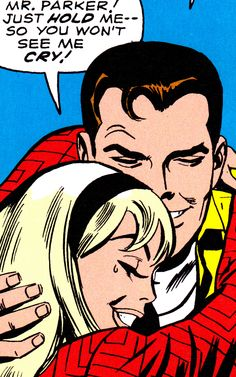 "Peter Parker & Gwen Stacy (art from the Amazing Spider-Man by John Romita - ""Mr. Just hold me. so you won't see me cry! Spiderman Spider, Spider Gwen, Amazing Spiderman, Mary Jane Watson, Marvel Entertainment, Spider Verse, Vintage Comics, Marvel Characters, Comic Artist"