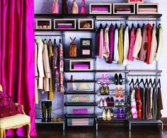 Dressing room. I like the idea of the curtain to cover a wall of shelving and clothing.