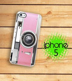 iPhone 5 Case Retro Kitschy Pink Camera  / Hard Case For iPhone 5 Pretty In Vintage Pink. Plastic or Rubber Trim