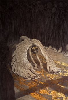 "Amazing Ballpoint Pen and Gold Leaf Drawings by Rebecca Yanovskaya. This is called ""Descent of Man."""