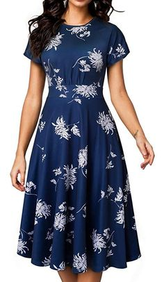 Nice-forever Vintage Elegant Floral Print Pleated Round neck vestidos A-Line Pinup Business Party Women Flare Swing Dress - Burgundy XXL 1950s Swing Dress, Robe Swing, Elegant Dresses, Vintage Dresses, Casual Dresses, Women's Casual, Mini Dresses, Vintage Wear, Vintage Floral