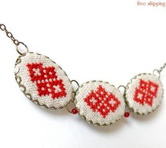 Creative embroidered necklace from Ukraine - the orphans at Pavlovo could make and sell these.........