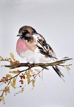 ORIGINAL Watercolor Bird Painting Sparrow by ArtCornerShop on Etsy