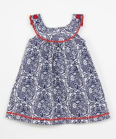 Look what I found on #zulily! Blue Damask Yoke Dress - Infant, Toddler & Girls by Lil Cactus #zulilyfinds