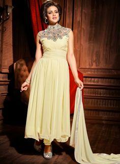 Beautiful Beige Georgette Designer Party Wear Long Anarkali Suit