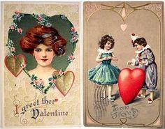 Antigos do Dia dos Namorados - Vintage Valentine's Day Cards