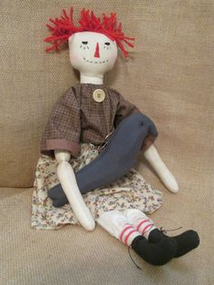 Primitive Folk Art Annie Ragdoll by HeartstringsNStitchs on Etsy