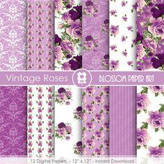 Rose Digital Paper Violet Digital Paper Pack by blossompaperart