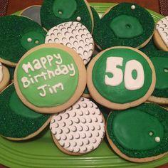 Golf Birthday Royal Icing Sugar Cookies by @cookiesbykatewi #golf #balls #birthday #50th #summer #greens