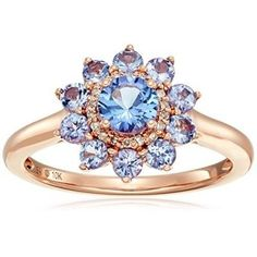 Rings, Amazon Collection, 10k Pink Gold Tanzanite and Diamond Flower Ring, Size 7