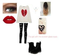 """""""The broken one"""" by xfangirllife on Polyvore featuring Casetify, Pam & Gela, Dr. Martens, Accessorize and Lime Crime"""