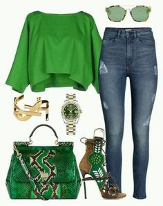 Green-Nice with a different bag and shoes