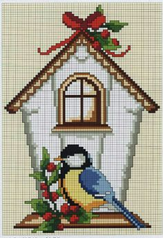 49 Ideas For Red Bird Craft Cross Stitch Xmas Cross Stitch, Cross Stitch Cards, Cross Stitch Animals, Cross Stitch Flowers, Counted Cross Stitch Patterns, Cross Stitch Designs, Cross Stitching, Cross Stitch Embroidery, Cross Stitch Numbers