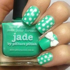 mint polka dot nails with bow...I gotta get me some of those bows