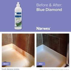 Before and After results when you use the Norwex Blue Diamond to remove hard water deposits, rust, soap scum, and more from your shower