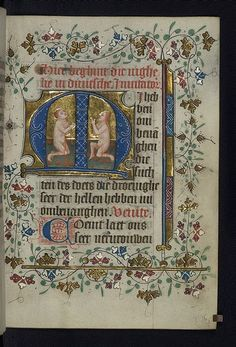 Illuminated manuscript, Book of Hours in Dutch, Two souls kneel in prayer in purgatory, Walters Manuscript W.188, fol. 175r , originally upl...