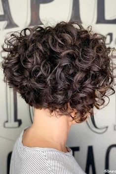 Inverted Brown Bob ❤ Here is a list of short curly hairstyles and tips for girls with curls. In case your curls are out of control and you can't tame the wild tresses. hairstyles curls 55 Beloved Short Curly Hairstyles for Women of Any Age! Short Curly Hairstyles For Women, Curly Hair Styles, Short Curly Wigs, Haircuts For Curly Hair, Curly Hair Cuts, Wig Hairstyles, Short Hair Cuts, Relaxed Hairstyles, Perms For Short Hair