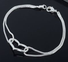 Love Bracelet With 925 Sterling Silver Heart and Extension Chain
