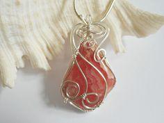 Wire Wrapped, Pendant, Rhodochrosite, Jewelry, Handmade, elainesgems, 250665 by elainesgems, $29.00 USD