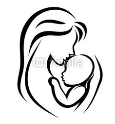 mom holding baby drawing - Google Search