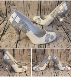 Women s Sparkly SuperHero white or Ivory Glitter high low Heels shoes  Harley Quinn wedding bride 2e6b47f752cc