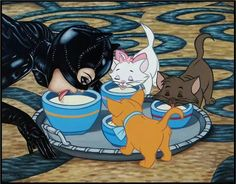 Catwoman (Michelle Phiffer, Batman Returns) with Marie, Berlioz and Toulouse (The Aristocats) - Disney/Movie Icon crossover Dark Disney, Disney Love, Disney Art, Disney Pixar, Disney Characters, Disney Villains, Horror Disney, Creepy Disney, Catwoman