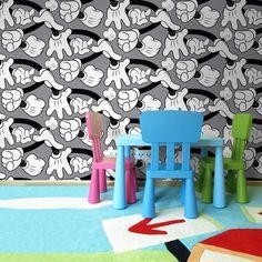Mickey Handshake Grey Wallpaper