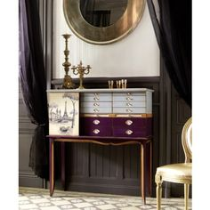 Bohemian Paris Solicitor Cabinet -  A real unique piece of furniture to brighten up your home and fascinate your guests. This Parisian cabinets sliding door amplifies the bohemian French lifestyle and freedom of thought in Paris through out the revolution. Painted in a deep aubergine purple and a contrasting duck egg blue this piece is eye catching and fun.