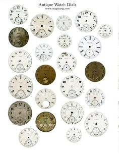 Antique Watch Dial digital collage sheet for Altered Art Scrapbooking Mixed Media and more pocket watch steampunk pocketwatch face. $4.00, via Etsy.