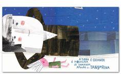 """Texto: Sérgio Godinho  Ilustrações: Madalena Matoso    """"O Primeiro Gomo da Tangerina"""" é um poema (e uma música) de Sérgio Godinho que faz parte do álbum Tinta Permanente, editado em 1993. Madalena Matoso transformou o poema em imagens, neste álbum ilustrado que continua a ter um pouco de álbum musical.."""