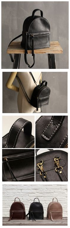 Small Women Leather Backpack, Casual Backpack, Shoulder Backpack SL009