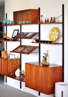 Inspiration for wall unit. Beautiful example of a mid century modern shelving unit.