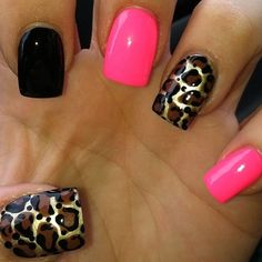 Pink, Black, And Leopard Nails. Would rather blue over pink but I love it. Get Nails, Fancy Nails, Love Nails, How To Do Nails, Fabulous Nails, Gorgeous Nails, Pretty Nails, Uñas Diy, Nailed It