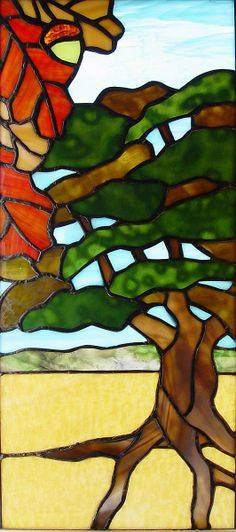 frank lloyd wright stained glass tree of life | Stained Glass Window Oak Tree