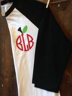 Teacher Monogram Baseball Shirt, Teacher Raglan, Teacher Monogram Shirt, Apple Monogram Raglan, Glitter Apple Monogram Shirt by TrendyTransfers on Etsy https://www.etsy.com/listing/241716546/teacher-monogram-baseball-shirt-teacher