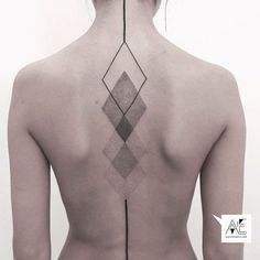 dotwork geometry tattoos - Delicate spine tattoo by Axel Ejsmont.