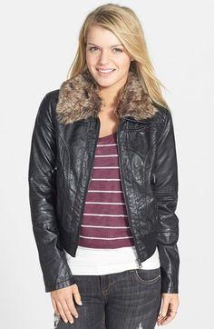 Dollhouse Faux Leather Bomber Jacket with Faux Fur Trim on shopstyle.com